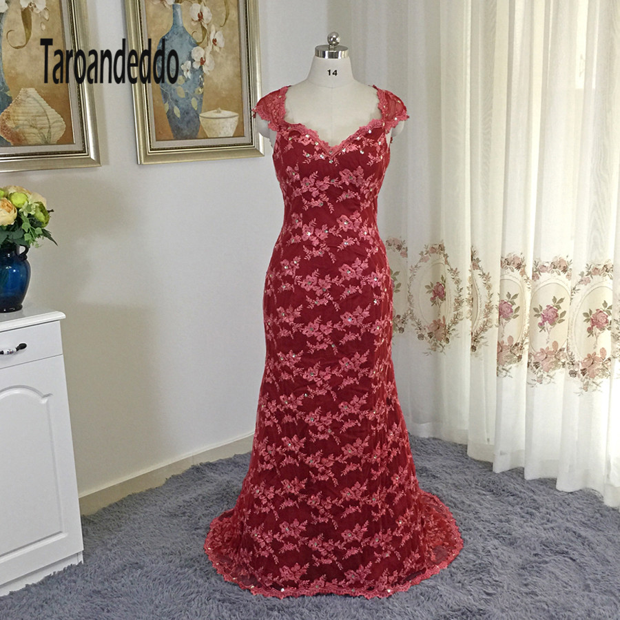 Sweetheart Cap Sleeves Dark Red Lace Mermaid Sexy Mother of the Bridal Dress with Crystals vestido de formatura