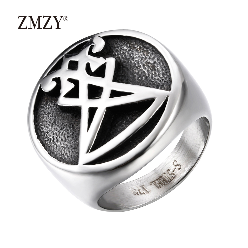 ZMZY Hot Vintage 316L Stainless Steel Men Ring Male Retro Punk Black Brand Ring Jewelry