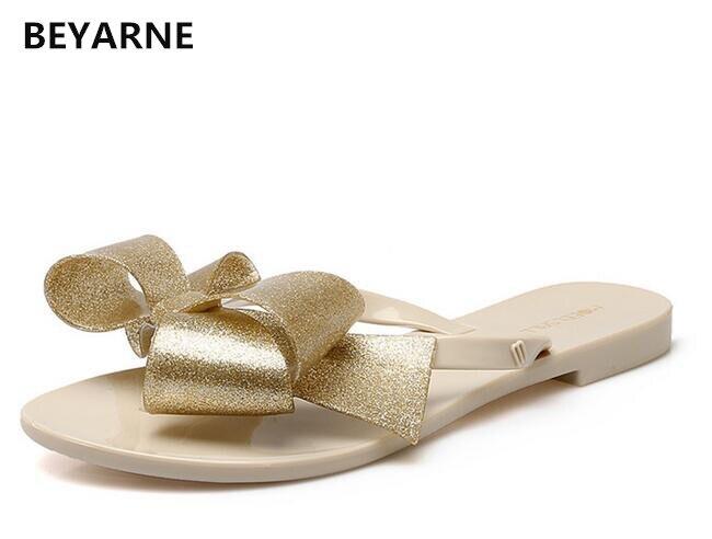 Beyarne Mode Frau Gelee Strand Sandalen Dame Flip-flops Wohnungen Regen Schuhe Frauen Sommer Reise Hausschuhe Gleitet Candy Farben 40 Exquisite In Verarbeitung