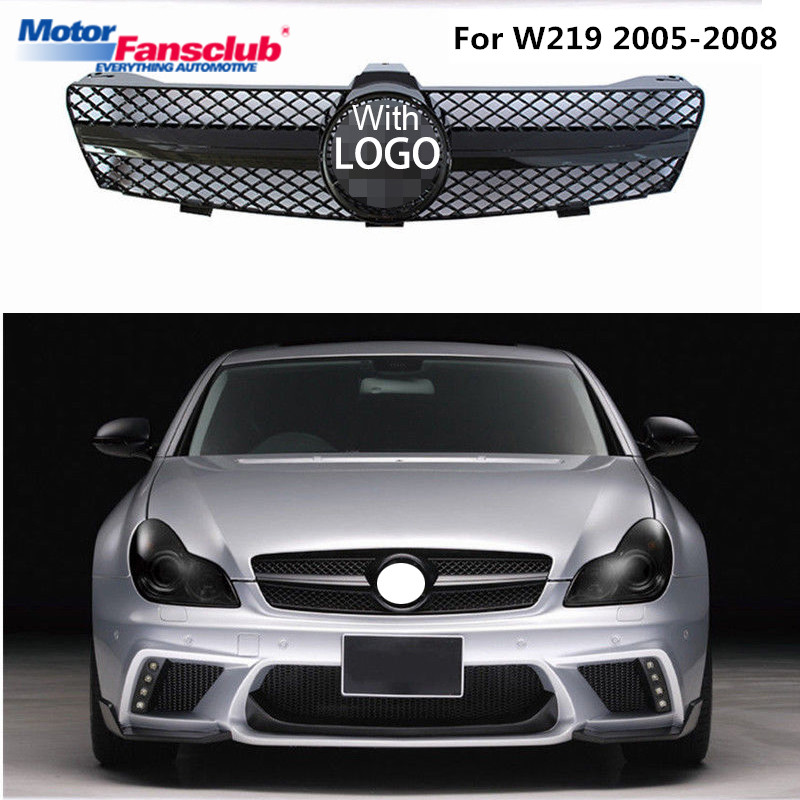 1Pcs Car Racing Grille For Mercedes Benz W219 CLS CLS350 CLS63 2005-2008 Grill Emblems Mesh Radiator Front Bumper Lower Modify