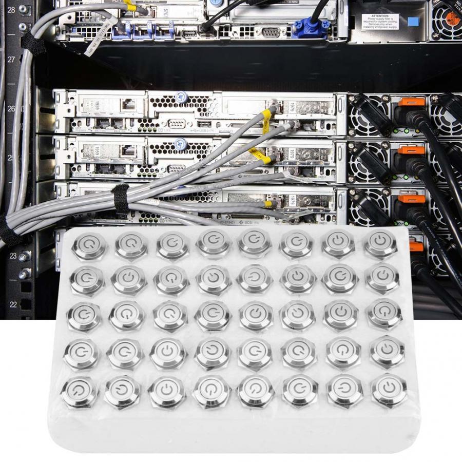 Interruttore Della Luce 40pcs 16 millimetri In Metallo Momentaneo Interruttore di Pulsante di Reset Automatico Piatto 24V HA CONDOTTO LA Luce 5 spille Interruttori - 5
