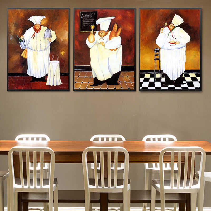 Cartoon Anime Restaurant Malerei Bäckerei Kochen Poster Küche Wand Kunstdruck Bild Kaffee Haus Leinwand Home Dekoration Kein Rahmen