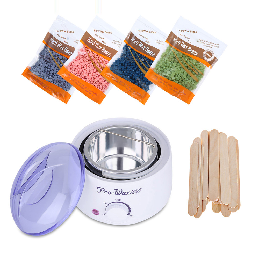 Hair Removal Electric Wax Warmer Machine Heater with 400g Wax Beans 20pcs Stickers Bikini Hair Removal Sets Waxing Kit