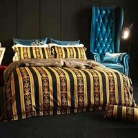 High End Luxury Royal Europe Design Imperial Palace Classic Strip Pattern Flower Cotton Printing Brand Bedding