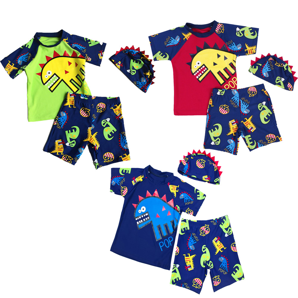 Sunny Kid Boys' Summer 3pc/set Swimwear With Didinosaur Pattern In Navy/red/blue Short Sleeve Tankinis Benchwear For 2~8 Years Year-End Bargain Sale