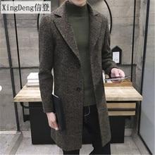XingDeng Men's Spring Autumn Thick Wool Trench fashion warm Coat Men Long Casual