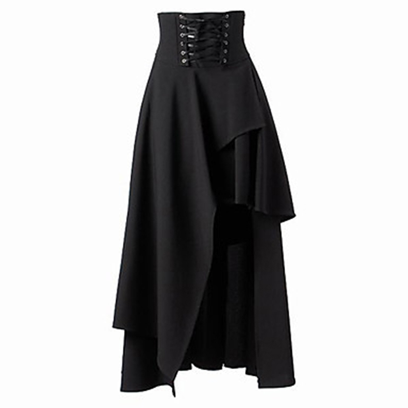 Women's Black Lace Up Skirts High Quality Gothic Lolita Style Long Skirt New Fashion Ladies Irregular Skirt Autumn Winter Wear