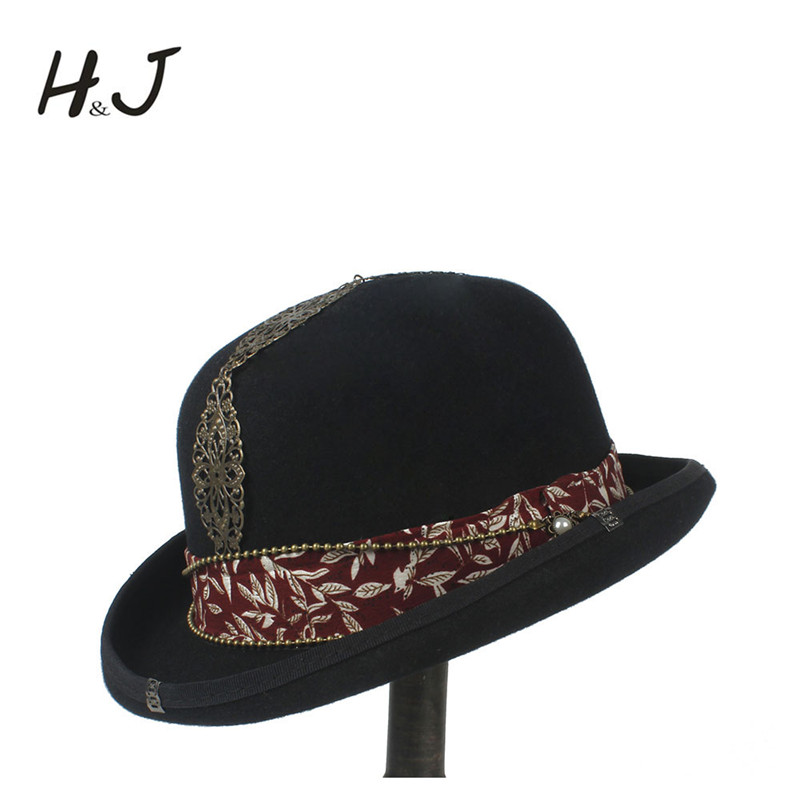 100% Wolle Frauen Männer Schwarz Bowler Hut Gentleman Steampnk Crushabletraditional Billycock Bräutigam Hüte Größe S M L Xl