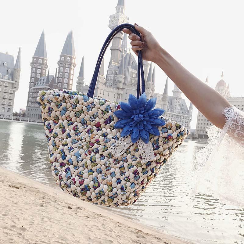 2018 New Handmade Kintted Beach Handbags Rattan Bag Flowers Straw Bags Women's Travel Bags Shoulder bag For Girls 107