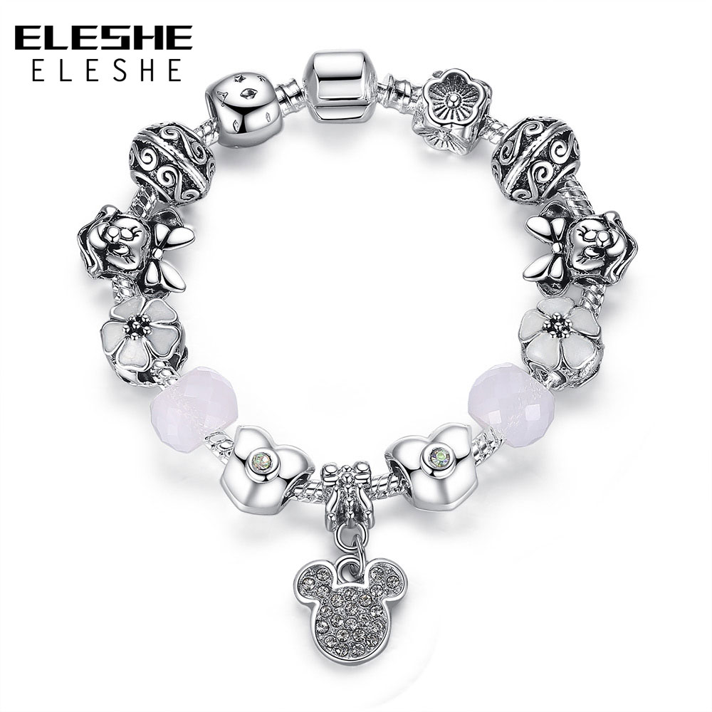 Eleshe Fashion 925 Silver Charm Bracelet With Heart Beads&cherry Blossom  Charm Murano Glass Beads Friendship Bracelet