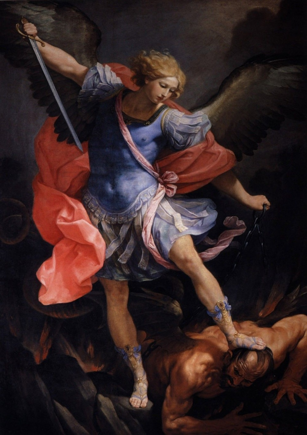 Guido Reni: The Archangel Michael Defeating Satan SILK POSTER Decorative painting  24x36inch