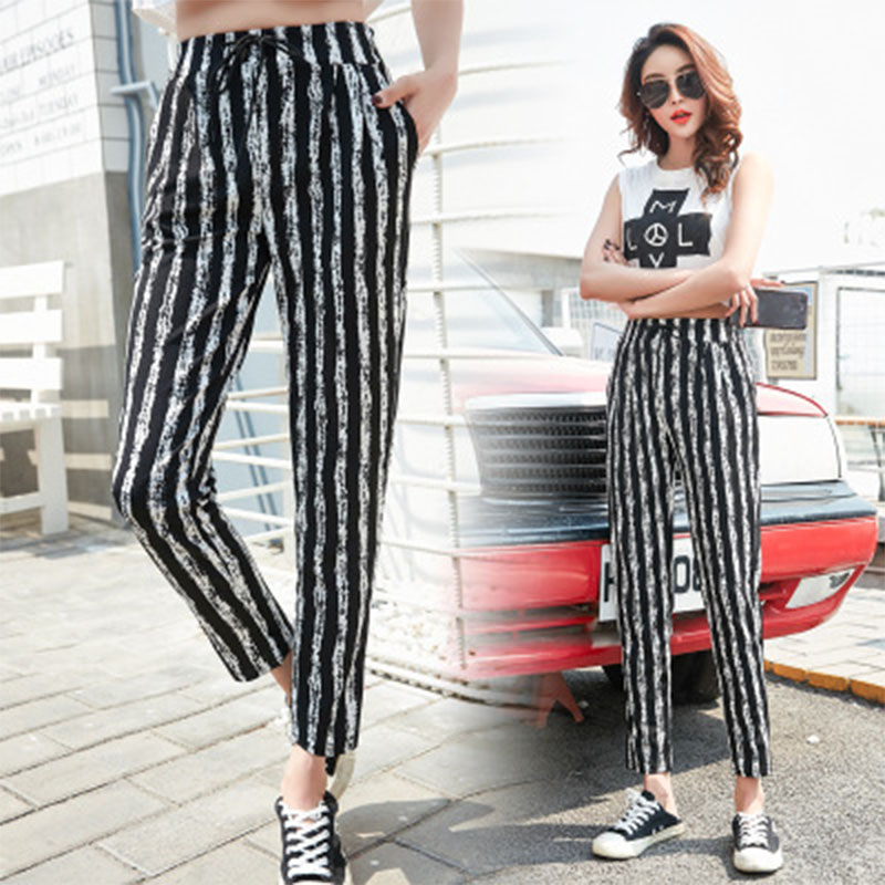 a5648973402b 2018 Summer Black Drawstring Plaid   Striped Long Pants Women Korean High  Waist Wide Leg Harem Pants Casual Loose Lady Trousers-in Pants   Capris  from ...