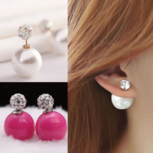 simulated pearl jewelry 26 Colors Brincos Crystal candy color pendientes Stud Earrings double simulated pearl earrings for women