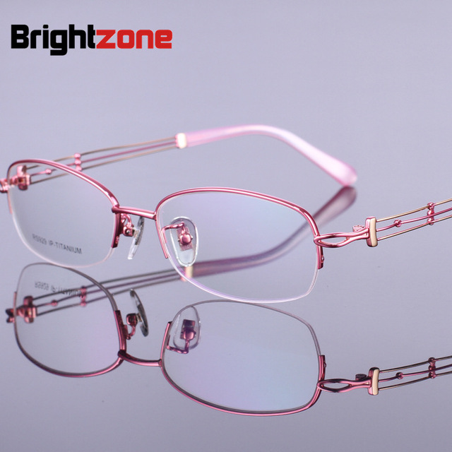 796b9ec77ab Summer Blindfolded Picture Goddess Fund Fashion Pure Titanium Women s Half Myopia  Spectacle Frame Pure Titanium Glasses