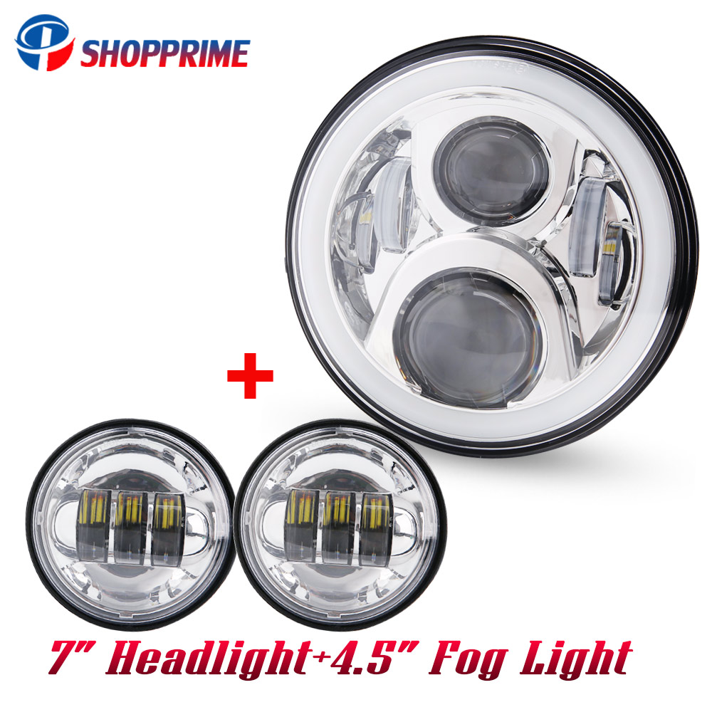 7 Inch Daymaker Harley LED Headlight with 4.5 Inch Fog Lamps For Harley Davidson Motorcycle Electra Glide Softail Fat Boy 5 75 5 3 4 chrome headlight housing bucket for harley electra glide bad boy