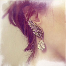 New Style Retro Exaggerated Earrings Personality Angel Wings Water Droplets Ear Clip Jewelries Accessory Flawless Pendant Bijoux(China)
