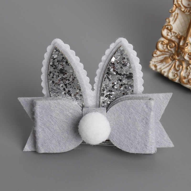 37ffe95cce9e ... Baby Toddler Girls Easter Bunny Hair Clip, Glitter bunny ears hair bow  Clips DIY Hair