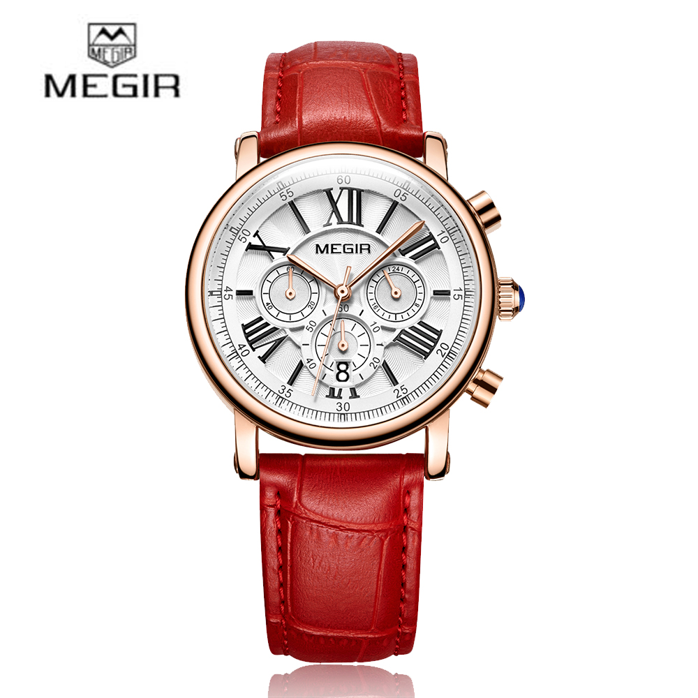 MEGIR 2018 New Watch Fashion Luxury Women Watches 3ATM Water-resistant Quartz Woman Chronograph Calendar Wristwatch