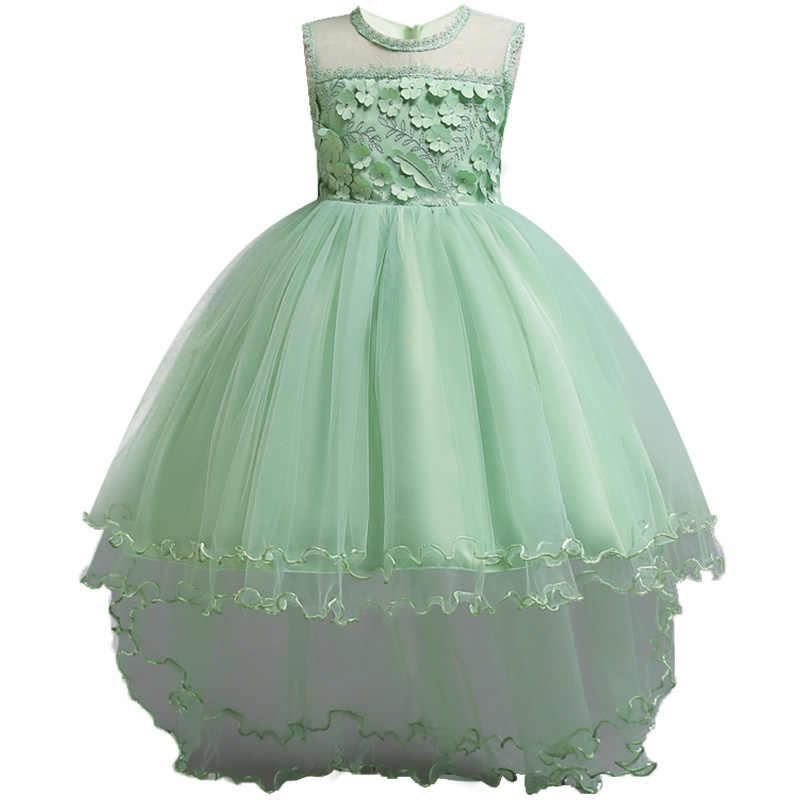 Детское высококачественное платье с аппликацией в новом стиле для девочек летнее платье принцессы легкое платье для подростков платье для подиума
