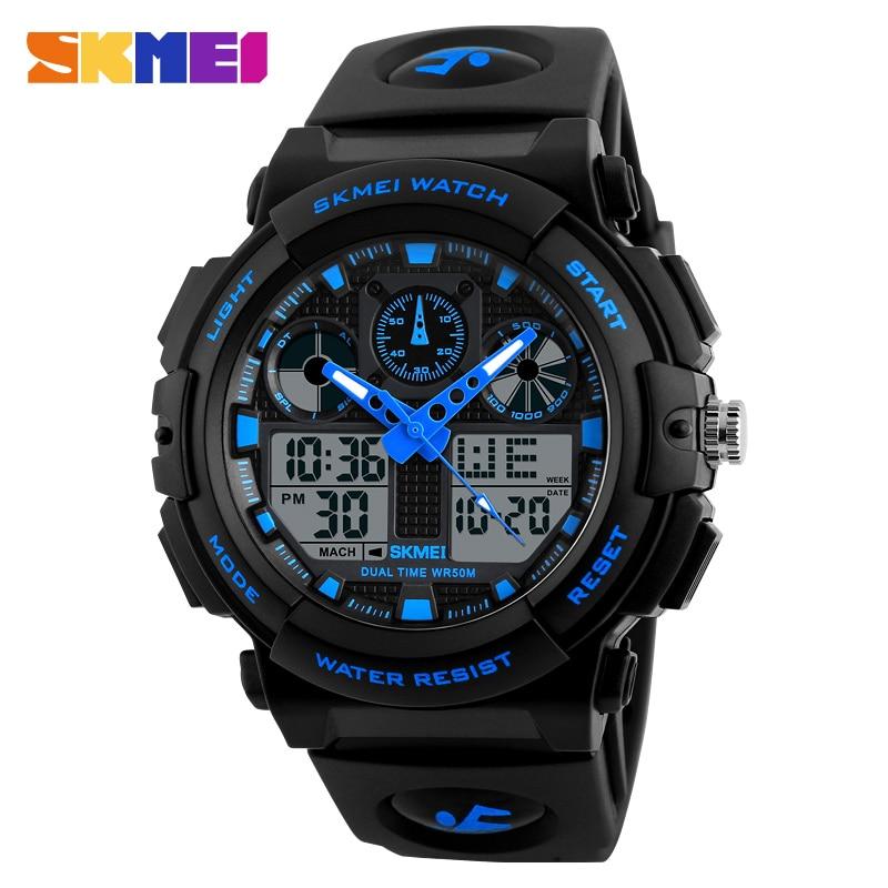 SKMEI Dual Display Wristwatches Men Sports Watches Digital Double Time Chronograph Time Watch Watwrproof Relogio Masculino 1270 smart baby watch q60s детские часы с gps голубые