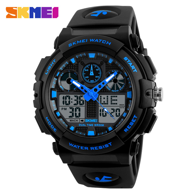 SKMEI Марка Мужские Часы мужские черные двойной Дисплей цифровой кварцевые наручные часы Для мужчин S Спорт Часы Для мужчин Водонепроницаемый Relogio Masculino