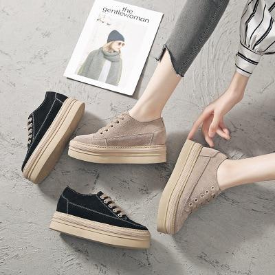 2 Nouveau Printemps Décontractées De Coréenne 2019 Givré Femmes 1 Cuir Chaussures Épaisseur Dentelle En AwOdqS