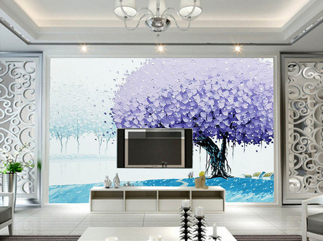 Purple Big Tree Oil Painting Papel Murals 3d Wall Photo Mural Wallpaper For Living  Room TV