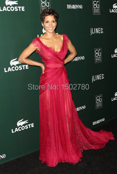 f64ec9e0c96 13th Annual Costume Designers Guild Awards Halle Berry Dress Red Lace  Transparent Skirt Chiffon Evening Celebrities Dresses. EC7101-2.jpg  EC7101-1.jpg ...