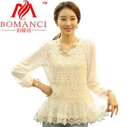 New 2014 S-XXXL Korean Fashion Long Sleeve women Chiffon lace Blouses Shirt blouse renda peplum blusas shirts tops clothes A048