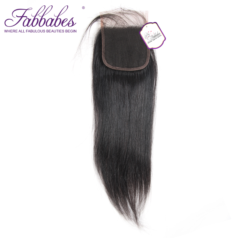 Fabbabes 4X4 Lace Closure Brazilian Straight Free Part 100% Human Remy Hair Bleached Knots with Baby hair