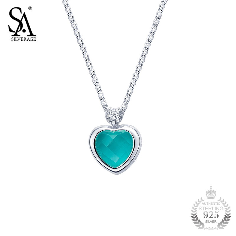SA SILVERAGE 925 Sterling Silver Pendant Love Heart Turquoise Stone Necklace for Women Pure Silver Necklace 2018 Wedding Gift goog yu retro leather men s chest pack fashion casual messenger bag high grade genuine leather bag cowhide shoulder bags
