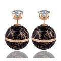 Nueva Llegada de Colores Doble Lados Fibrosa Pendiente de La Perla de Lujo Pendientes de Cristal Corona de Oro Gran Bola de bordes Dorados Para mujeres