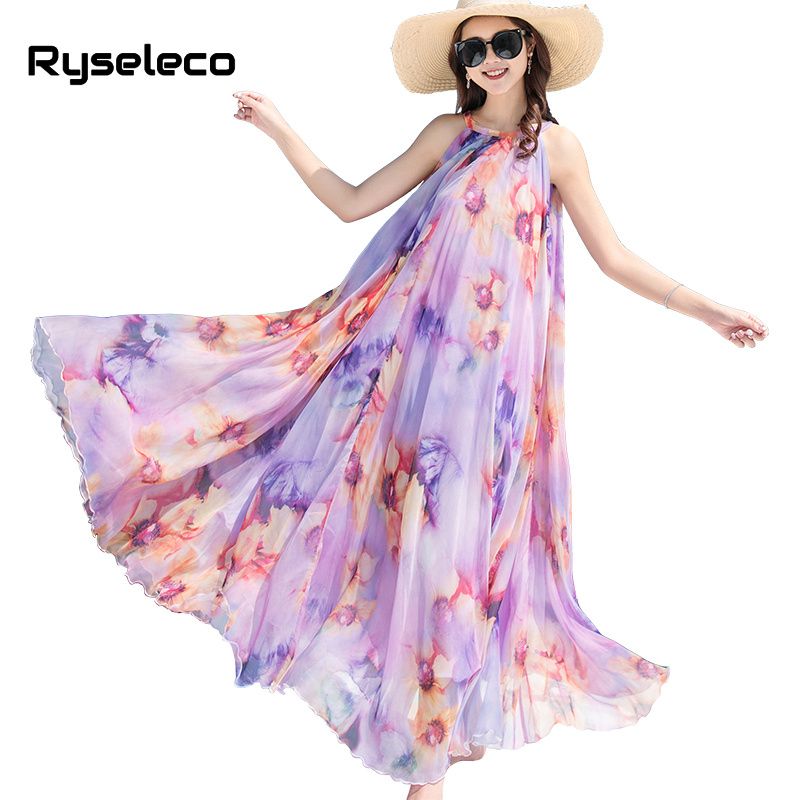 2018 Summer Women Bohemian Print Chiffon A-Line Long Holiday Dresses Lace Up Ankle-Length Tank Beach Loose Halter Maxi Vestidos