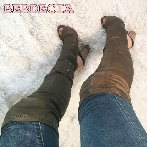 Hottest Women Stretch Fabric Boots Over The Knee shoes Elastic Material peep toe exposed heel Boots Chunky Heel Thigh High Boots