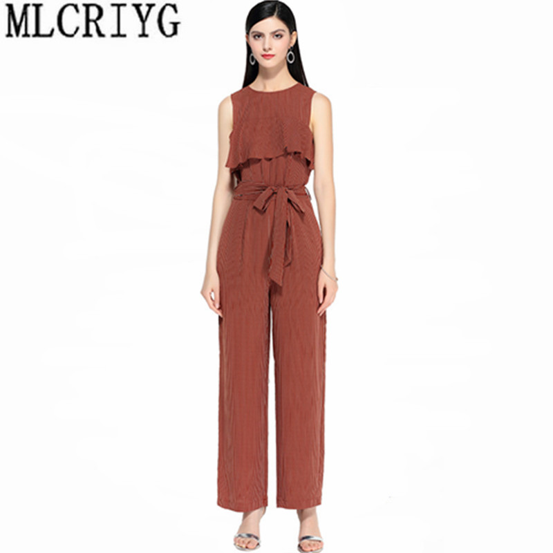 MLCRIYG 2019 mode barboteuses à rayures femmes combinaison sans manches à volants combinaisons femmes d'été salopette pour femmes vêtements YQ120