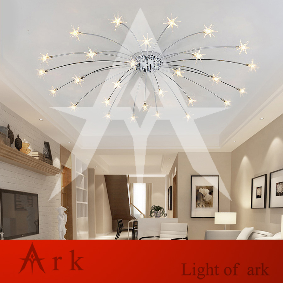 Living Room GLASS STAR Ceiling Lamp Luxury Romantic LED LIGHT ...