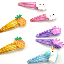 2Pcs/Lot New Children Hair Accessories Strawberry Pineapple Fruit Hairpins 5cm Cartoon Unicorn Horse Crown Hair Clip for Girls(China)