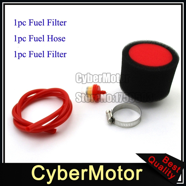 Red Fuel Hose Tube 38mm Air Filter Clearner For Motorcycle Dirt Pit
