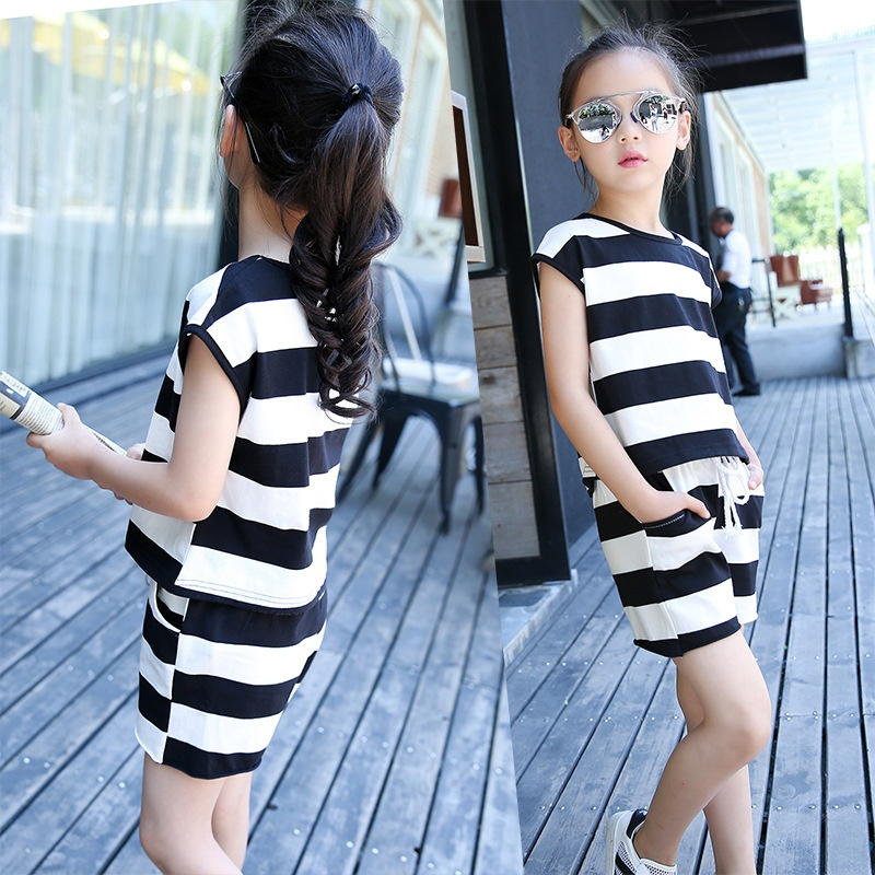 2017 Summer Baby Girl Sleeveless Stripe Sets Children Shirts+pants 2pcs Set Children's Clothes Kids Clothing Casual Sports Suit free shipping summer shoes women sandals beaded bohemian flip flops sandals beach shoes for women