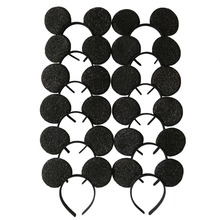 12pcs Hair Accessories Mickey Minnie Mouse Ears Solid Black sequins Headbands/Headwear for Boy Girl Birthday Party Celebration