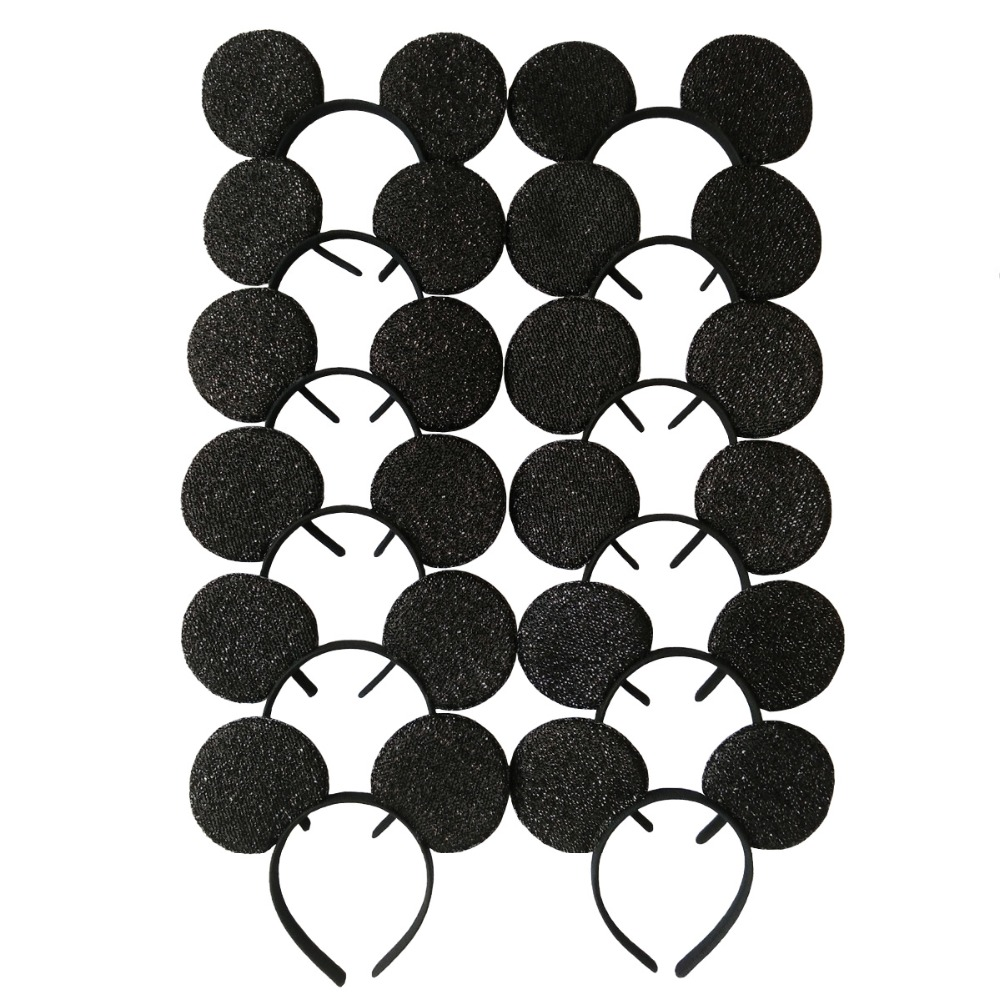 12pcs Hair Accessories  Minnie/Mickey Ears Solid Black sequins Headbands/Headwear for Boy Girl Birthday Party Celebration mism girl french hair bun maker multifunctional hair accessories for women fine roller curls styling holder curlers headbands