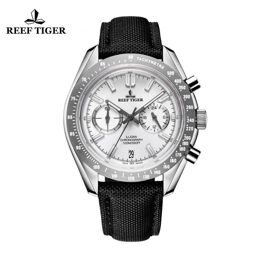 2017 Récif Tigre/RT Mens Designer Sport Montres avec Veau Sangle En Nylon 316L Acier Lumineux Chronographe Montre RGA3033
