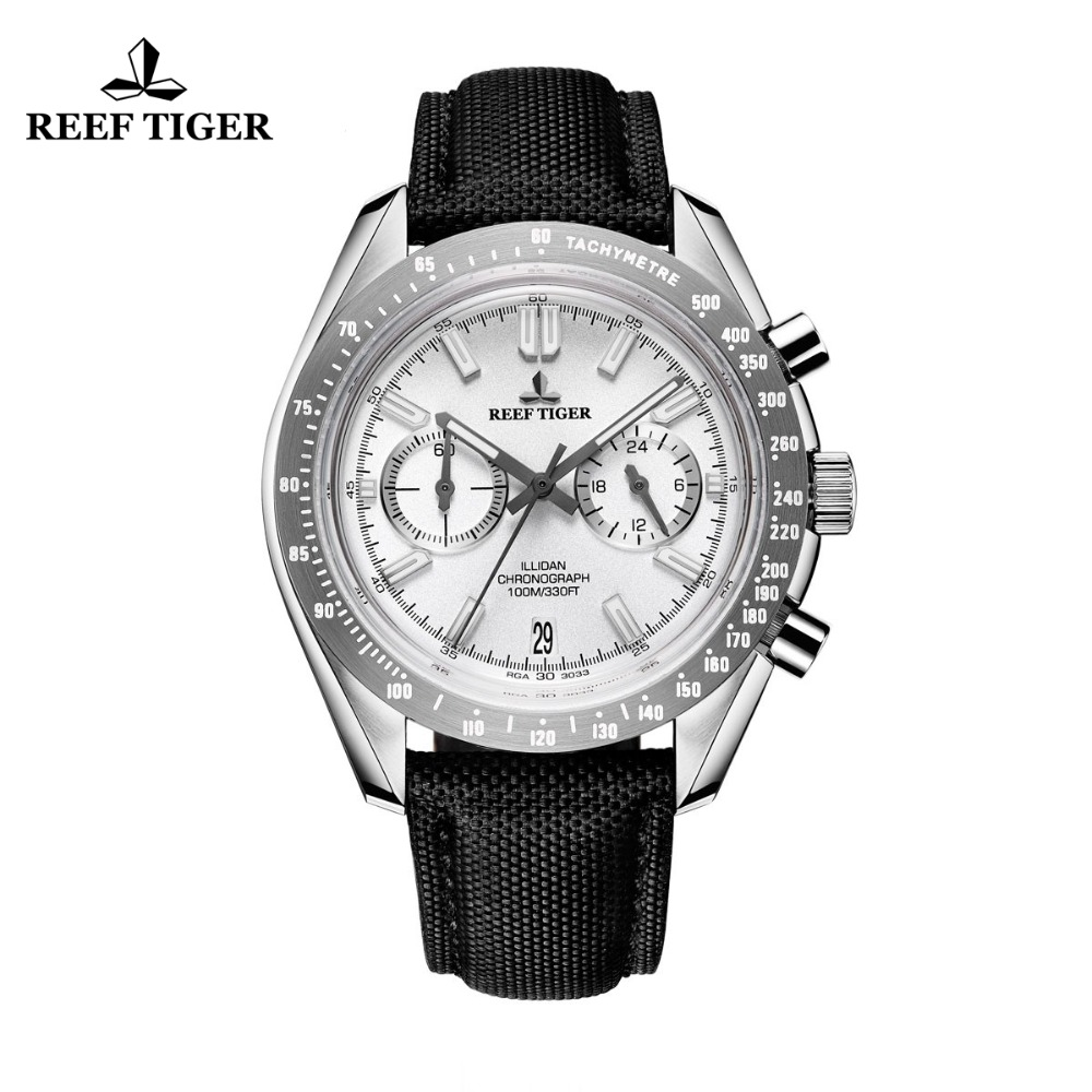 2017 Reef Tiger/RT Mens Designer Sport Watches with Calfskin Nylon Strap 316L Steel Luminous Chronograph Watch RGA3033