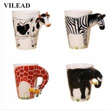 3D Dimensional Lover Animal Ceramic Coffee Mugs Creative Cute Cartoon Heat-resistant Milk Tea Cat Porcelain Cup New Year Gift
