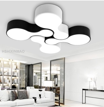 NEW Modern  Led Bowling Ceiling Light  Home Living Room Bedroom Minimalism Ceiling Lamps White And Black Body Decoration110-240V