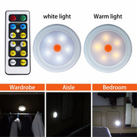 2 4pcs Remote Control LED Cabinet Wardrobe Light Battery Power Home Kitchen LED Under Cabinet Light