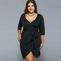 5XL 6XL Plus Size Women Clothing Big Size Women Dress Casual Elegant Midi Black Dress V
