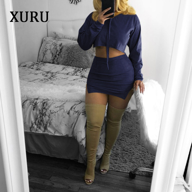 XURU 2018Autumn New Casual Suede Suits Pure color Drawstring Hooded Sweater + Split skirt Two sets 6