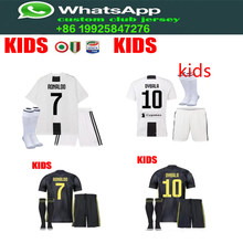 cc30b34ac best quality 2018 Serie A patch Juventuses kids RONALDO DYBALA 18 19 soccer  jersey football child shirt kit+sock Free shipping
