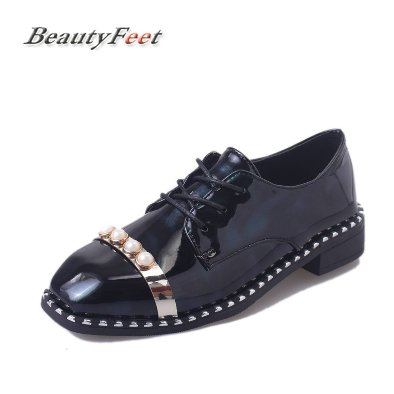 Flats British Oxford Shoes Women Spring Leather Oxfords Flat Heel Casual Shoes Lace Up Womens Shoes Retro Brogues BeautyFeet beau today brand retro british style 2017 women low heel genuine leather casual brogues wingtip oxford shoes black blue brown